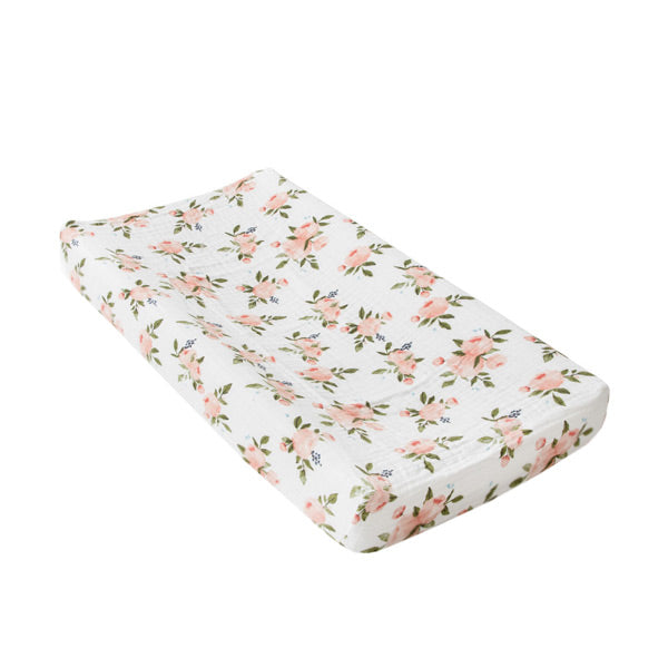 Little Unicorn Change Pad Cover / Bassinet Fitted Sheet - Watercolour Roses