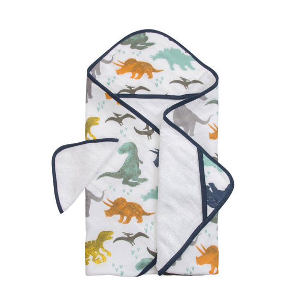 Little Unicorn Hooded Towel and Washcloth - Dino Friends