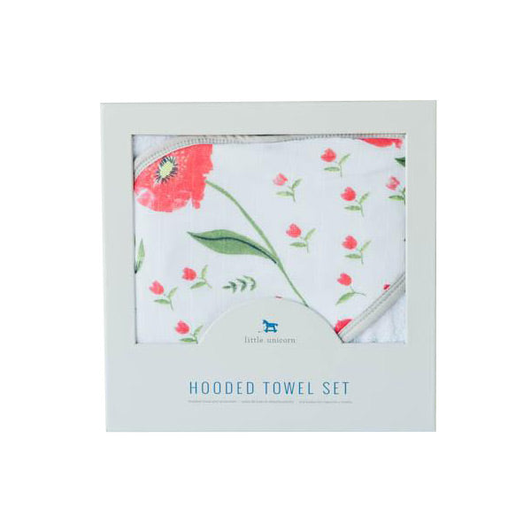 Little Unicorn Hooded Towel and Washcloth - Summer Poppy