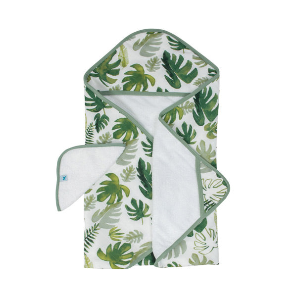 Little Unicorn Hooded Towel and Washcloth - Tropical Leaf