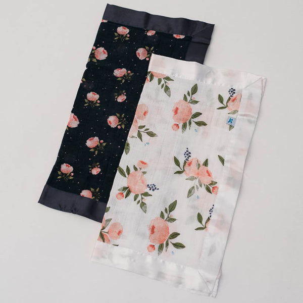 Little Unicorn Security Blankets - Watercolour Roses + Midnight Rose