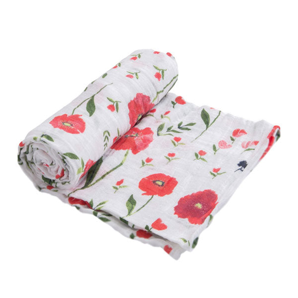 Little Unicorn Cotton Muslin Swaddle Wrap - Summer Poppy