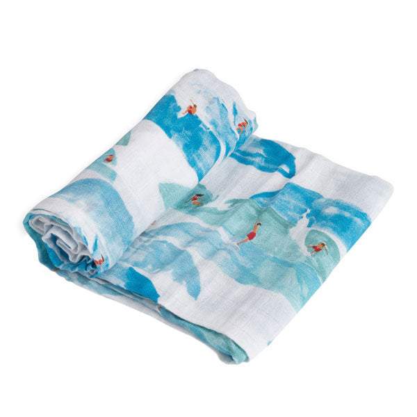 Little Unicorn Cotton Muslin Swaddle Wrap - Surf