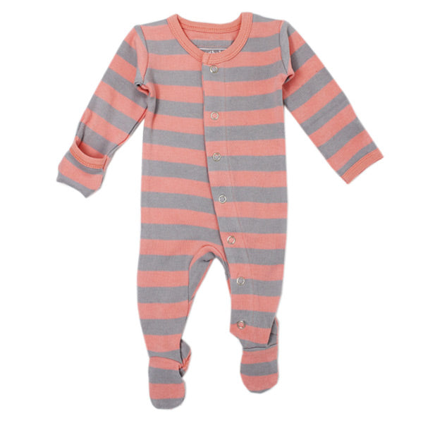 L'ovedbaby Organic Gl'oved Footed Overall - Coral/Light Grey Stripe