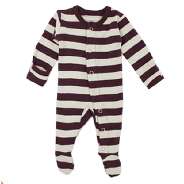 L'ovedbaby Organic Gl'oved Footed Overall - Eggplant/Stone Stripe