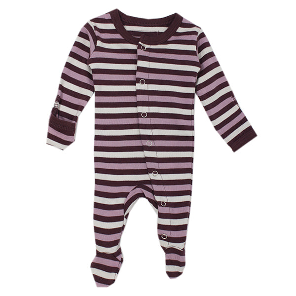 L'ovedbaby Organic Gl'oved Footed Overall - Eggplant Stripe