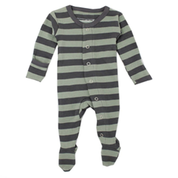 L'ovedbaby Organic Gl'oved Footed Overall - Grey/Seafoam Stripe