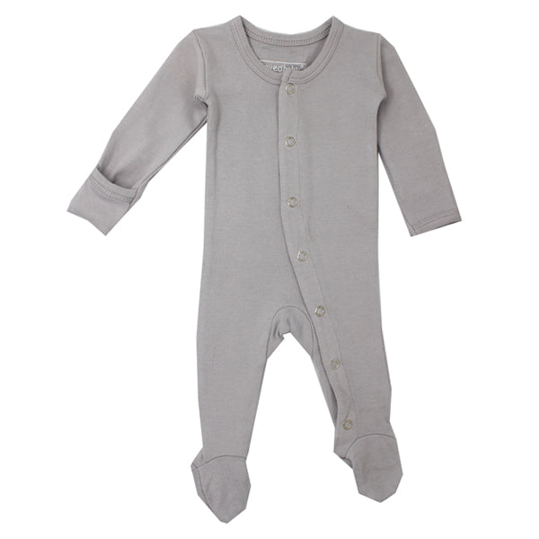 L'ovedbaby Organic Gl'oved Footed Overall - Light Grey