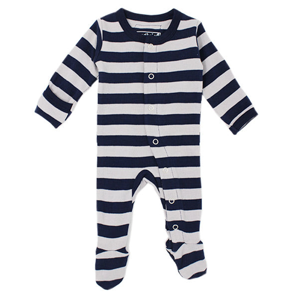 L'ovedbaby Organic Gl'oved Footed Overall - Navy/Light Grey Stripe