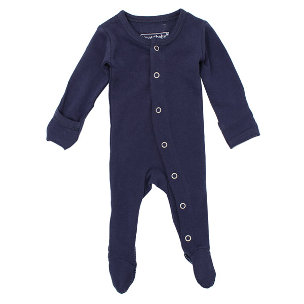 L'ovedbaby Organic Gl'oved Footed Overall - Navy