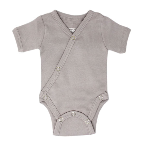 L'ovedbaby Organic Short Sleeve Kimono Bodysuit - Light Gray
