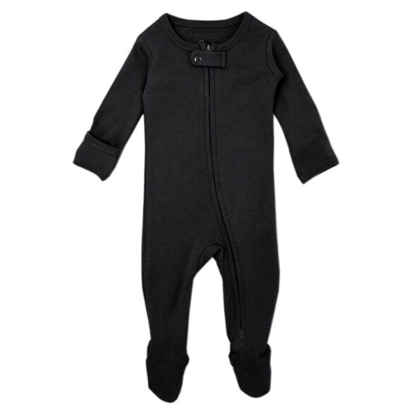 L'ovedbaby Organic Zipper Footed Overall - Black