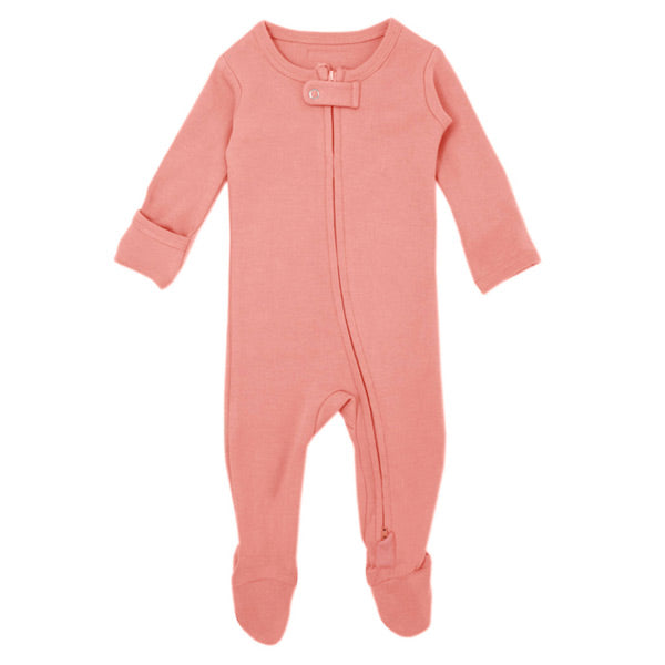 L'ovedbaby Organic Zipper Footed Overall - Coral