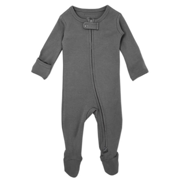 L'ovedbaby Organic Zipper Footed Overall - Grey