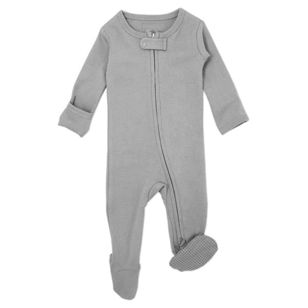 L'ovedbaby Organic Zipper Footed Overall - Light Grey
