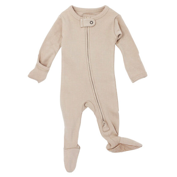 L'ovedbaby Organic Zipper Footed Overall - Oatmeal