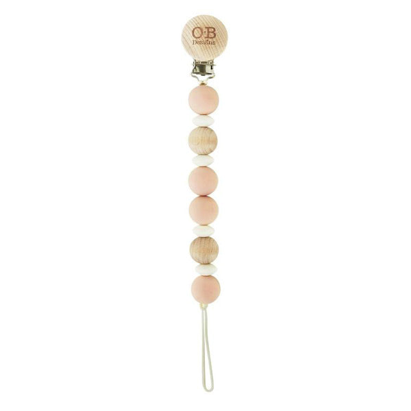 OB Designs Beechwood Silicone Dummy Chain - Blush Pink