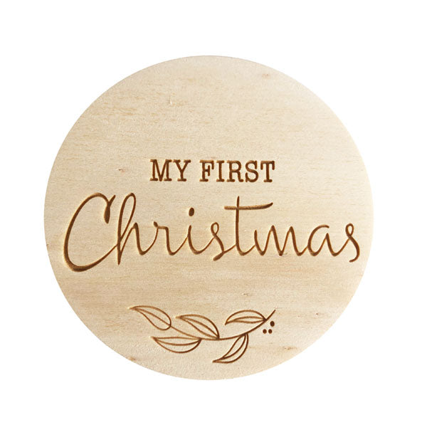 One.Chew.Three Wooden Milestone Plaque - My First Christmas