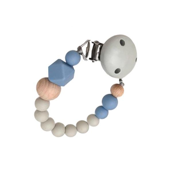 One.Chew.Three Silicone Dummy Holder Clip - Scandi Grey/Blue