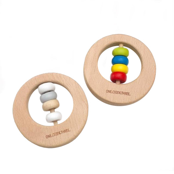 One.Chew.Three Premium Beech Wood Rattle Teether