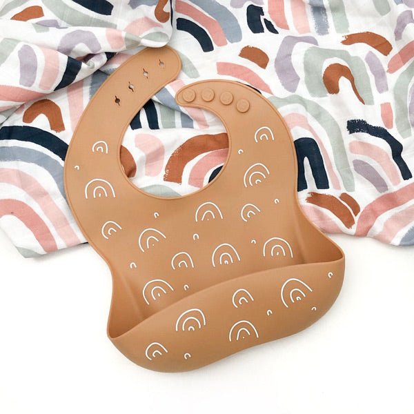 One.Chew.Three Silicone Catch BIb - Caramel Rainbows