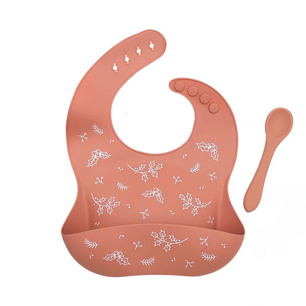 One.Chew.Three Silicone Catch Bib and Spoon Set - Christmas Spice
