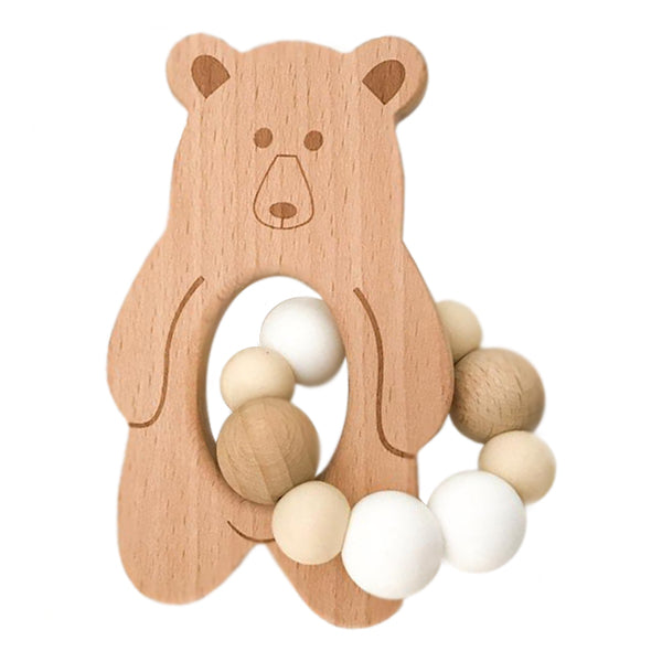 One.Chew.Three Bear Silicone and Beech Wood Teether - Natural White