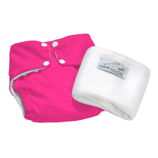 Pea Pods One Size Reusable Nappy - Hot Pink