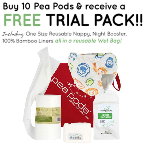 Pea Pods One Size Reusable Nappy - Bonus Trial Pack