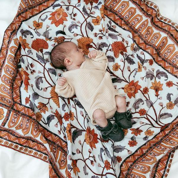 Pop Ya Tot Organic Cotton Swaddle Wrap - Buti Block