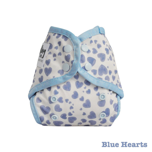 Seedling Baby Mini-Fit Newborn Pocket Nappy - Blue Hearts