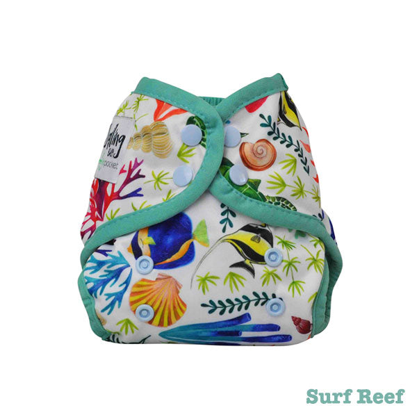 Seedling Baby Mini-Fit Newborn Pocket Nappy - Surf Reef