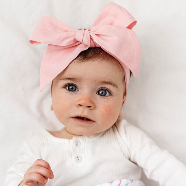 Snuggle Hunny Kids Linen Bow Pre-Tied Headband Wrap - Baby Pink