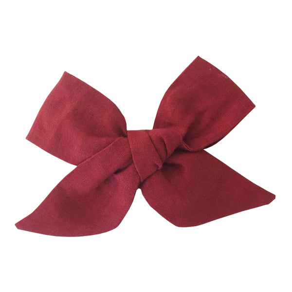 Snuggle Hunny Kids Linen Bow Pre-Tied Headband Wrap - Burgundy