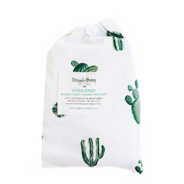 Snuggle Hunny Kids Fitted Bassinet Sheet and Change Pad Cover - Cactus