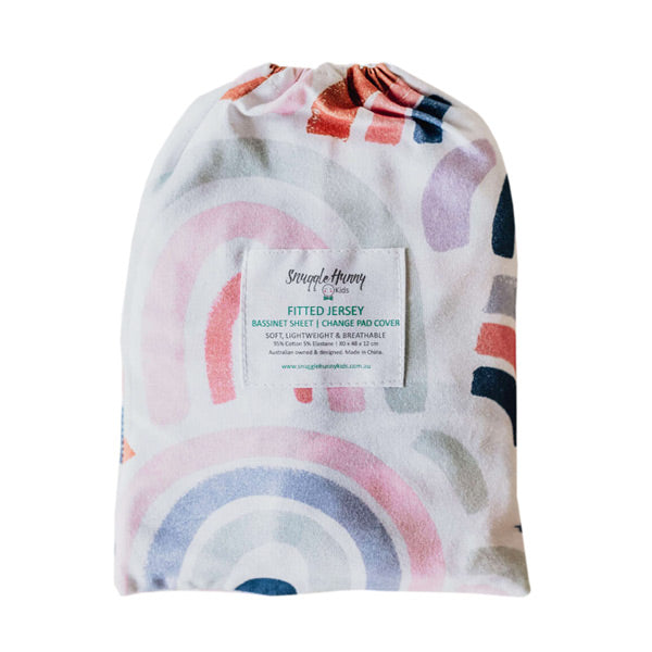 Snuggle Hunny Kids Fitted Bassinet Sheet and Change Pad Cover - Rainbow Baby