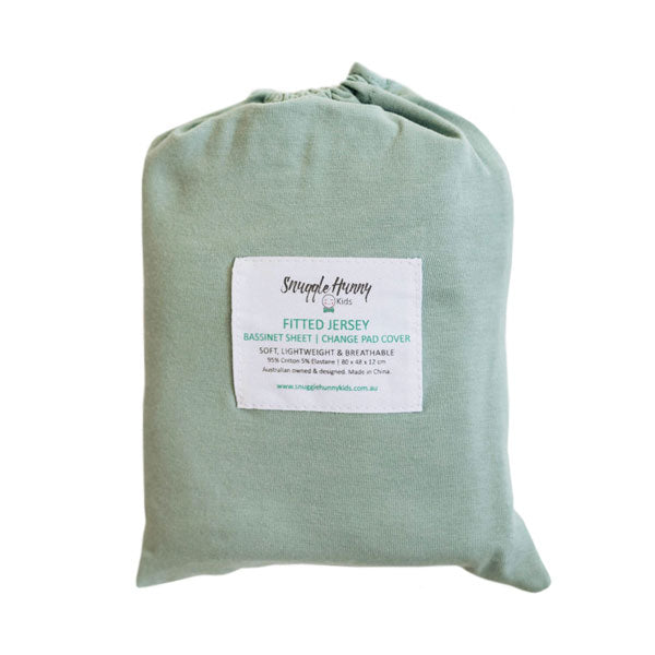 Snuggle Hunny Kids Fitted Bassinet Sheet and Change Pad Cover - Sage