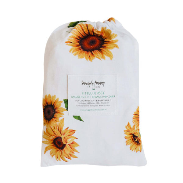 Snuggle Hunny Kids Fitted Bassinet Sheet and Change Pad Cover - Sunflower