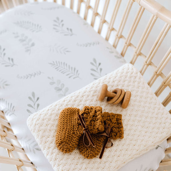 Snuggle Hunny Kids Fitted Bassinet Sheet and Change Pad Cover - Wild Fern