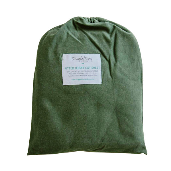 Snuggle Hunny Kids Fitted Cot Sheet - Olive