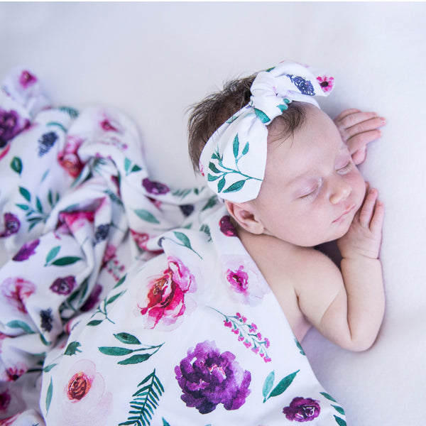 Snuggle Hunny Kids Jersey Wrap with Matching Headwear - Peony Bloom