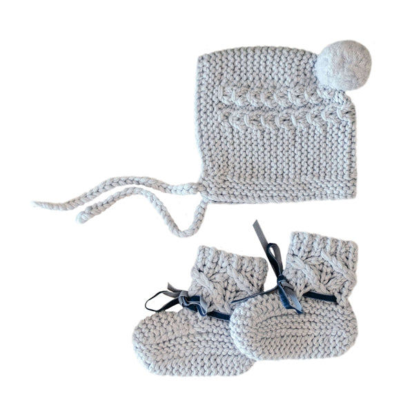 Snuggle Hunny Kids Merino Wool Bonnet and Booties - Blue