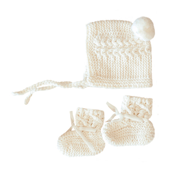 Snuggle Hunny Kids Merino Wool Bonnet and Booties - Ivory