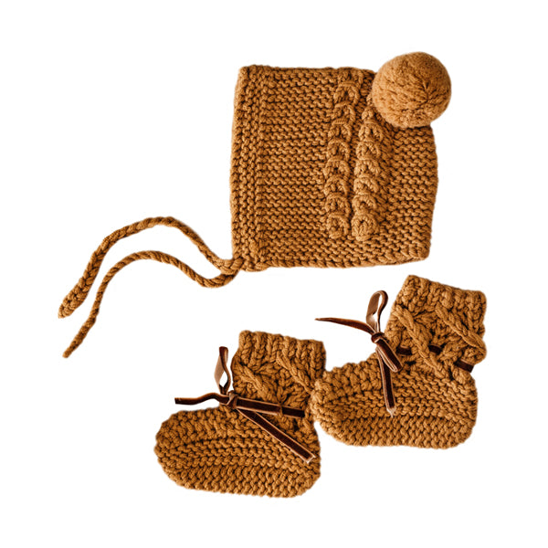 Snuggle Hunny Kids Merino Wool Bonnet and Booties - Bronze