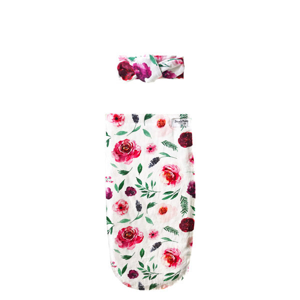 Snuggle Hunny Kids Snuggle Swaddle Sack with Matching Headwear - Peony Bloom