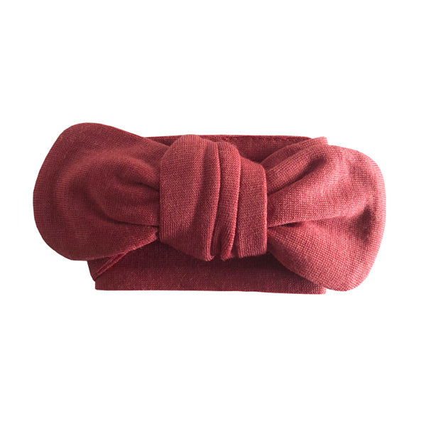 Snuggle Hunny Kids Topknot Merino Headband - Deep Rust