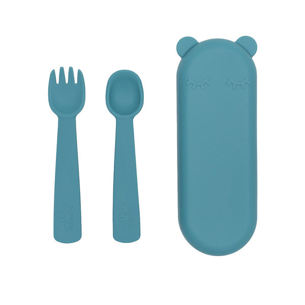 We Might Be Tiny Silicone Feedie Fork & Spoon Set - Blue Dusk