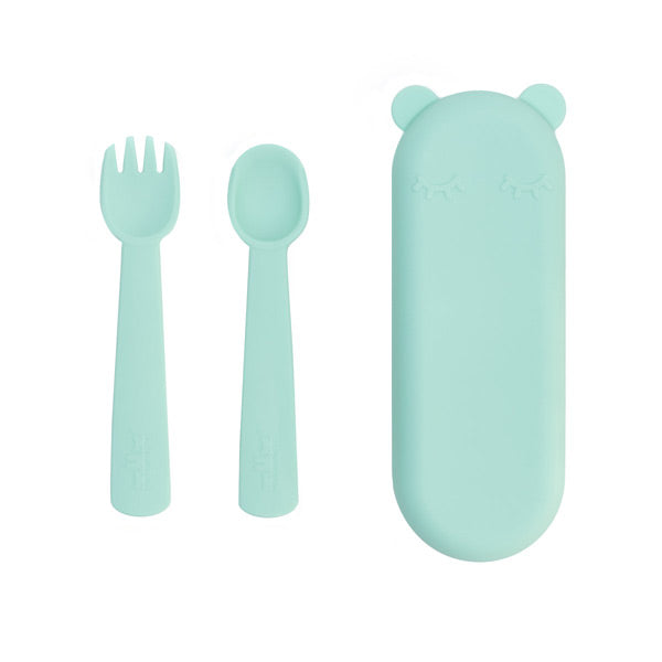 We Might Be Tiny Silicone Feedie Fork & Spoon Set - Mint