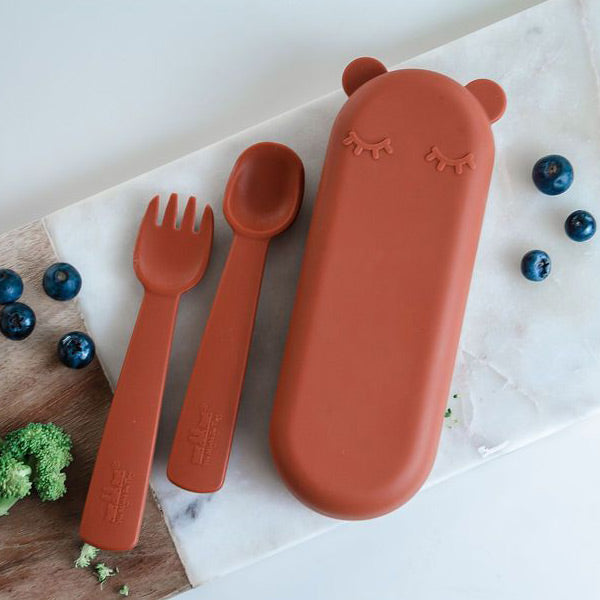 We Might Be Tiny Silicone Feedie Fork & Spoon Set - Rust