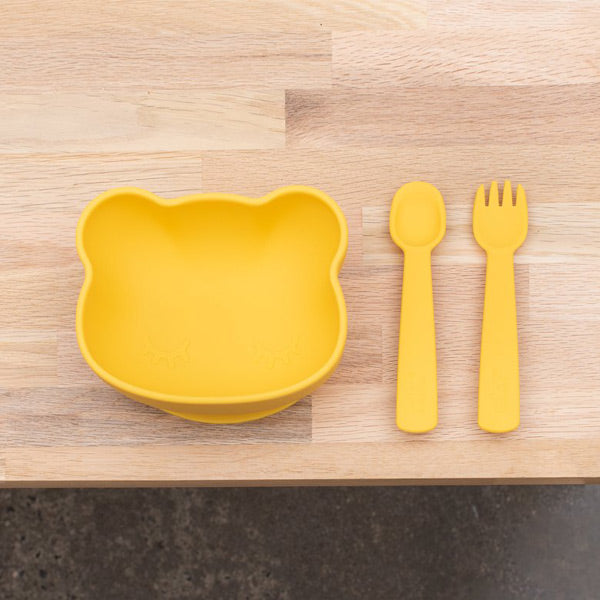 We Might Be Tiny Silicone Feedie Fork & Spoon Set - Yellow